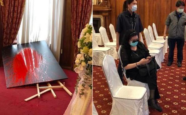 女子对李登辉肖像泼油漆,蔡英文发言人回应了