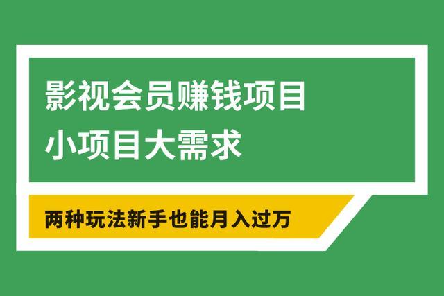 邹涛超车致富系列之九:影视会员赚钱项目,小项目需求大,两种玩法,新手每月也能挣到1万多元