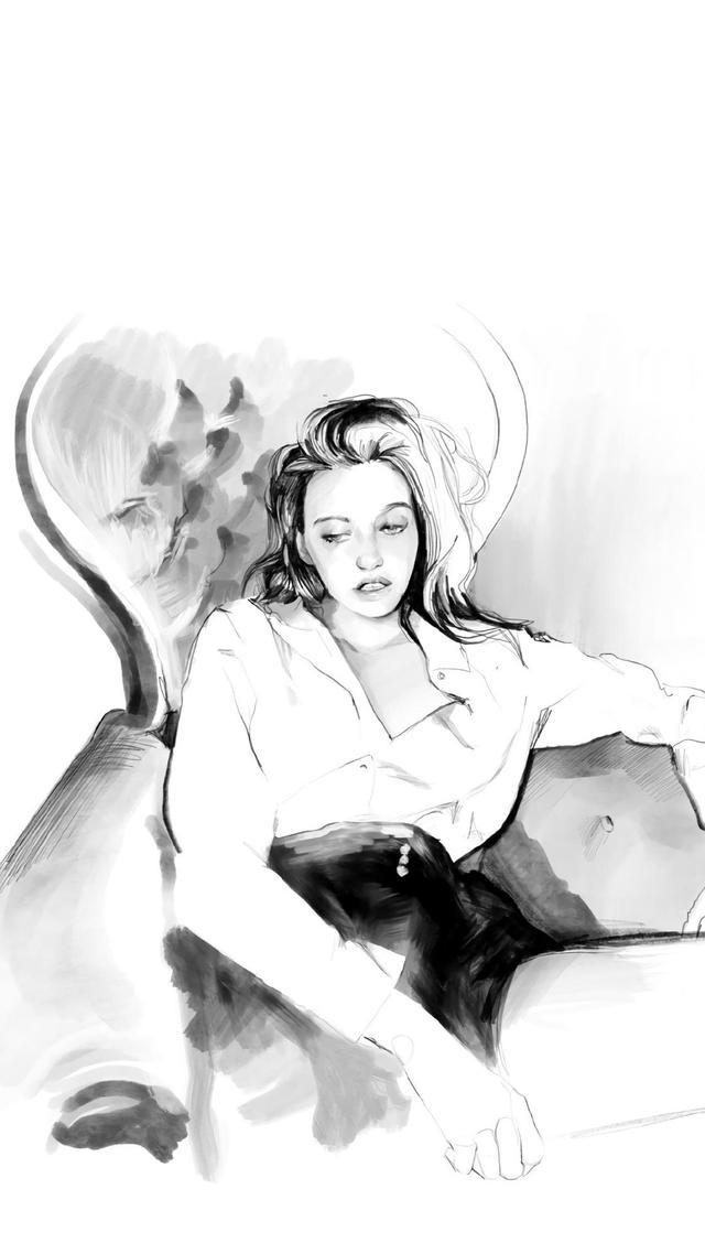 动漫女生图片黑白 手绘图片,【黑白手绘女生壁纸】失望到了尽头 心便不会再瞎闹