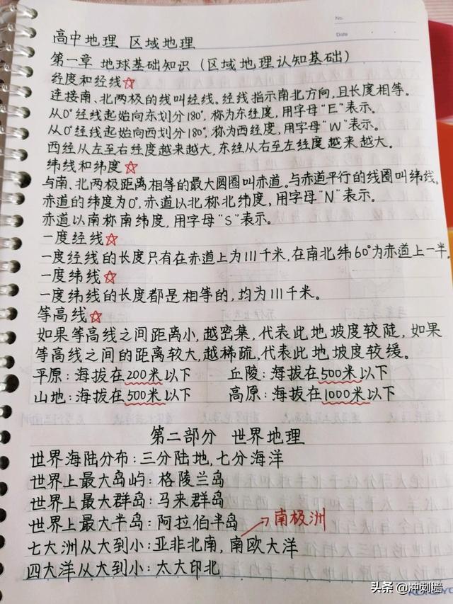 高中区域地理手写笔记梳理
