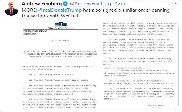 特朗普签署行政令:45天后,禁止美国人与微信群大全进行微信群相关交易-微信群群发布-iqzg.com