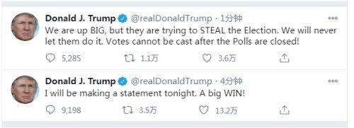 特朗普发推特:今晚将发表讲话 称这是一个巨大的胜利