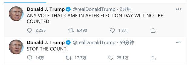 特朗普又发推:选举日后的任何投票都将不被计入 全球新闻风头榜 第1张