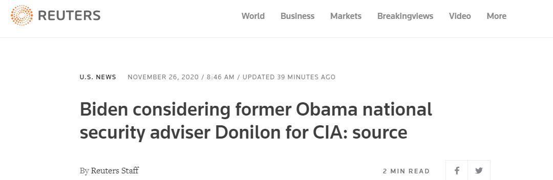 外媒:拜登考虑任命奥巴马政府国家安全顾问汤姆·多尼伦担任CIA局长