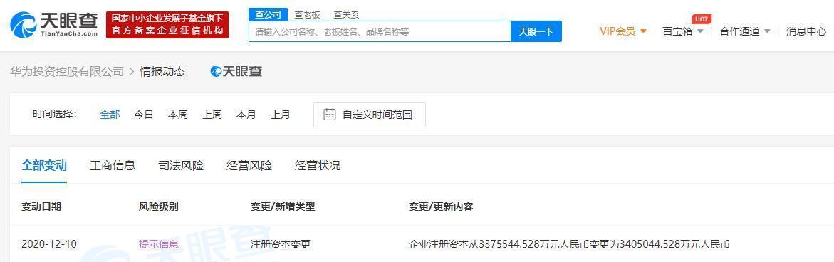 华为投资控股有限公司注册资本新增至约340.5亿人民币