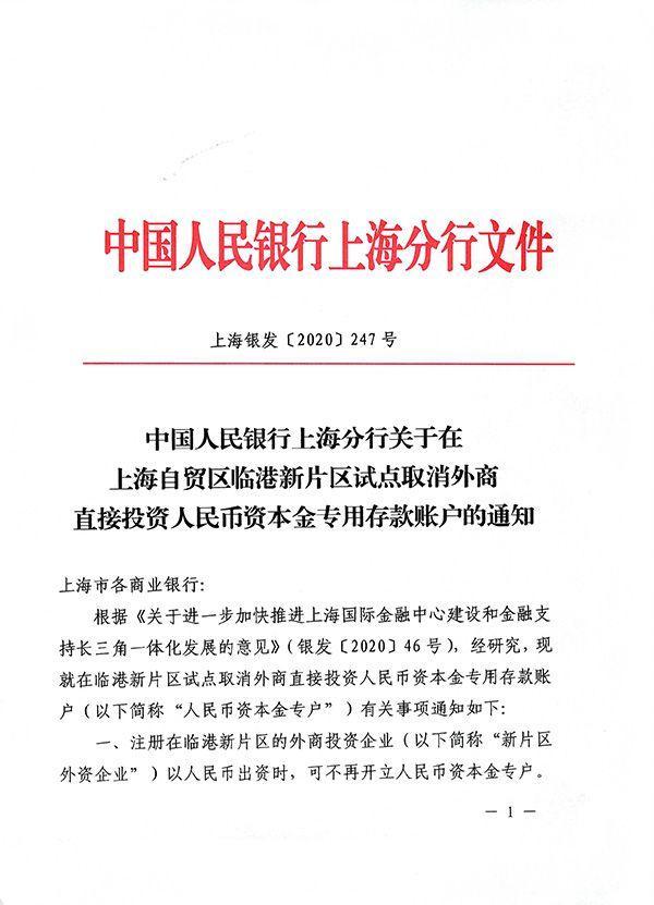 上海自贸临港新片区示范点撤消投资者对外直接投资rmb自有资金