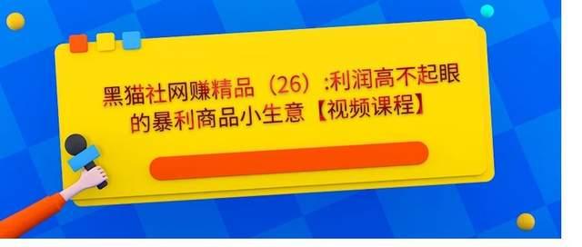 黑猫社网赚精品26:利润高不起眼的暴利商品小生意【视频课程】