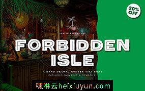 不拘一格大胆干净的竹条英文字体 Forbidden Isle Tiki Font #3115274