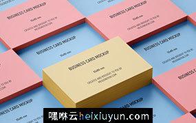 3种堆叠模式的名片贴图设计展示样机模板 Stacked business cards mockup / 55 x 85mm