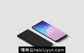 三星s10手机等距视角样机模版 Samsung Galaxy S10 Isometric Mockup Vol.2