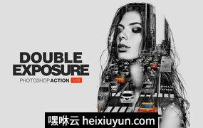 强大的双重曝光PS动作插件 Double Exposure Action