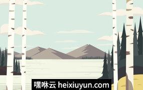 白桦树林矢量景观插图Vector Landscape Illustration