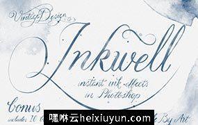 墨水效果的图层样式 Inkwell  Instant Ink #48563