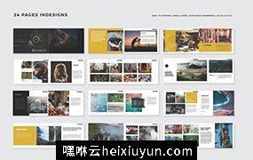 摄影作品集手册画册时尚杂志标书设计模板 photographic portofolio brochure