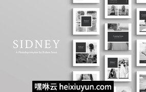 漂亮的图文内容设计社交媒体(朋友圈、微博)模板下载 Sidney Social Media Pack