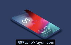 iPhone X Clay Isometric Individual – Left苹果白模等距 APP手机贴图展示PSD样机模版