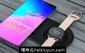 三星智能手机手表UI贴图样机PSD模板 Samsung Galaxy S10+ & Galaxy Gear Mockup
