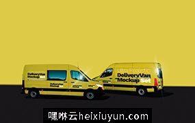 箱式汽车车身贴图展示模版 Ultra Realistic Delivery Van Mockup Set