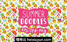 彩色花卉字体Doodle pineapples on vacation bundle #2678512