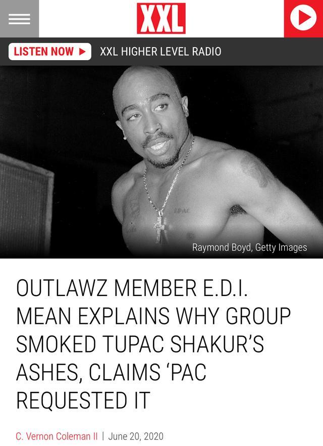 Tupac的骨灰被他兄弟卷成烟抽了,还有比这更硬核的吗?