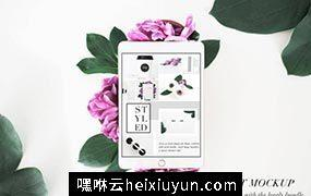 花卉装饰场景平板电脑样机模板PSD-Tablet-Mockup-Floral-Stock-Photo