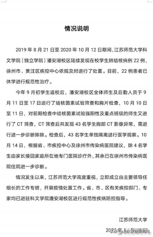 《【恒达品牌】江苏师大通报22名学生患肺结核:已休学治疗,筛查又发现43人异常》