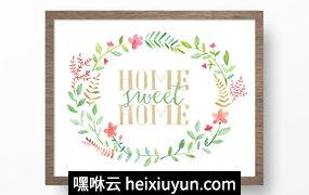 手绘水彩甜蜜花卉植物设计素材Home Sweet Home Printable Art