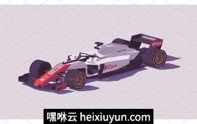 矢量赛车插图素材Vector low poly formula racing car