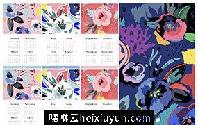 2019年创意抽象现代艺术日历EPS矢量模板 Calendar 2019