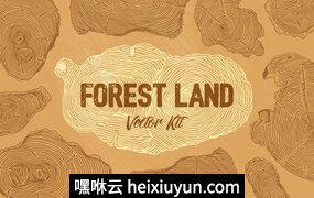 少见的高端矢量森林年轮纹理背景图案大集合Forest Land Vector Kit