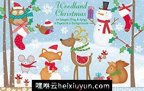 可爱的圣诞节设计插画元素素材 Christmas clipart, Christmas graphics