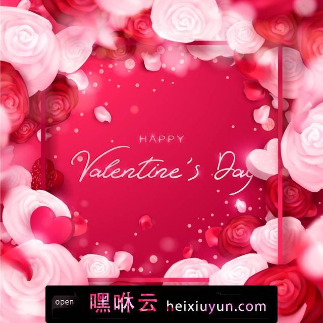 嘿咻云-浪漫红色情人节/母亲节/38妇女节玫瑰墙纸婚礼设计传单横幅 节日快乐 矢量插图艺术