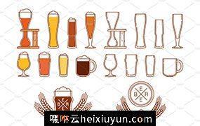 啤酒玻璃杯图标和LOGO Beer glasses icons  #156017