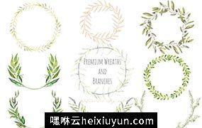 绿色植物花环素材 Premium wreaths and branches #419007