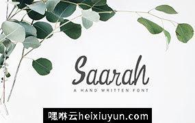一款新鲜柔和曲线手工制作衬线英文字体Saarah Fresh Font