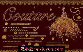 经典的纺织用品笔刷素材 Couture Brushes #1658304