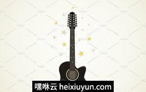 星星绕着吉他矢量插图Guitar