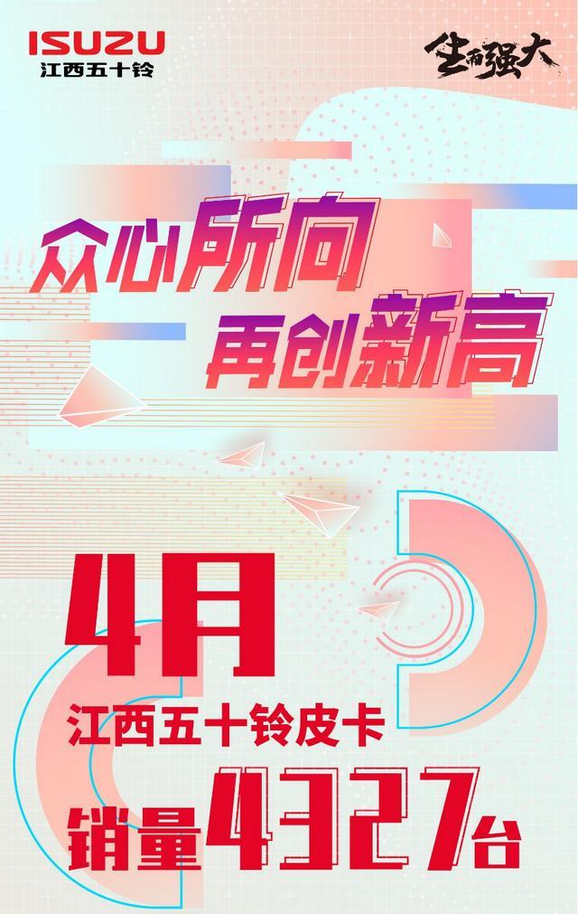 江西五十铃皮卡4月销量同比大增42.2%  合资皮卡品牌销量第一