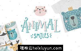 可爱动物宝宝笑脸剪贴画图案素材合集包 Animal smiles- Baby characters #1449643