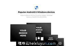 高品质时尚手机电脑页面展示显示设备贴图样机模型91x Android & Windows