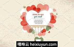 情人节主题贺卡矢量插图2 Valentine-#039;s day backgrounds