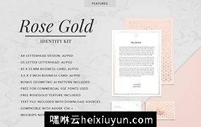 玫瑰金风格时尚现代品牌VI设计模板 ROSE-GOLD-Theme-Identity-Kit #1043636