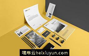 高品质的高端品牌文具办公用品提案样机展示模型 stationery-branding-mockup-vol-2