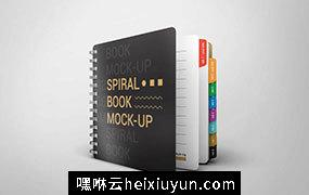 夹页记事本笔记本展示样机 PSD_Spiral_Book_Mock_Up_19551434