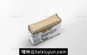 香皂肥皂包装贴纸展示样机 Soap Bar Paper Sleeve Mock-Up