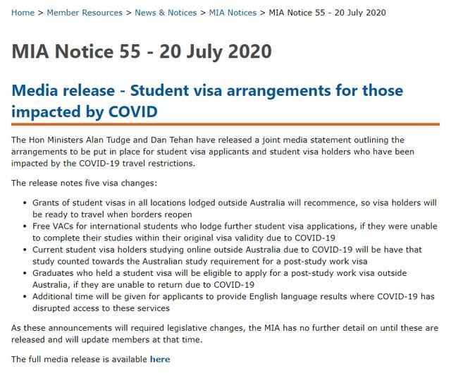 澳官宣5条新政:留学签重新发,网课算在澳学习,签证过期免费申!