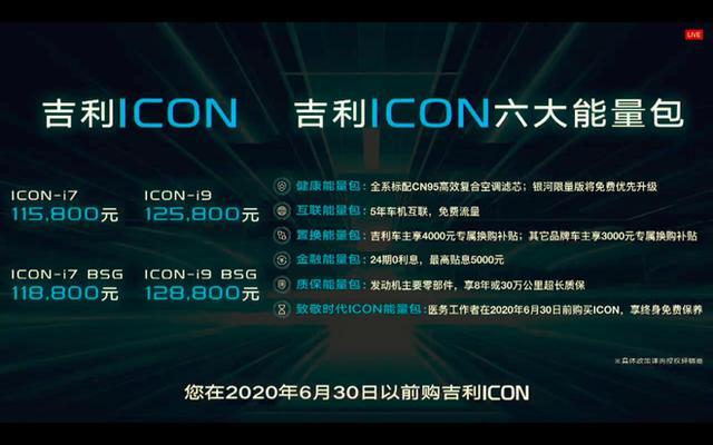 吉利ICON正式上市 售价11.58-12.88万元