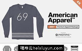 美式长袖T恤4K高清服饰贴图展示样机模版 American Apparel 2007 Shirt Mockups