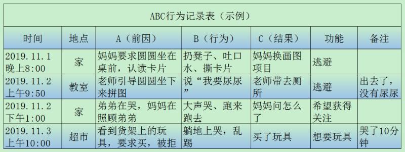 ABC行为记录表