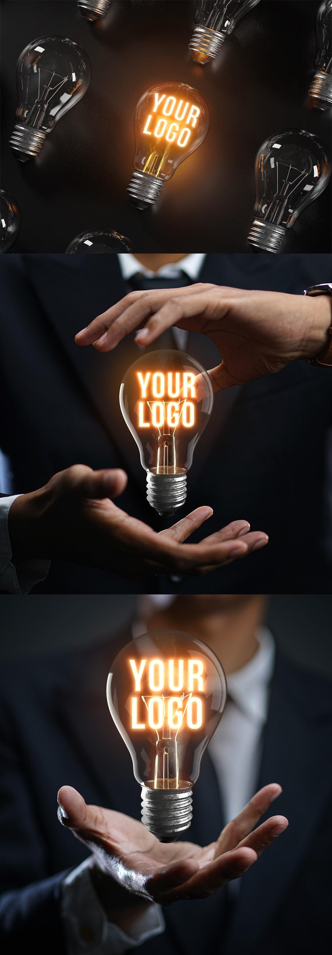 灯泡发光LOGO样机模板